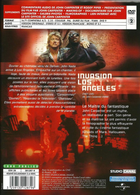 Verso DVD 2003 d'Invasion Los Angeles