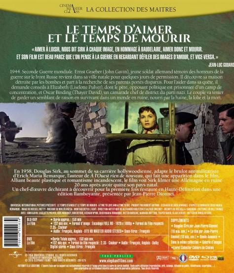Le Temps d'aimer et le temps de mourir - Jaquette Blu-ray Verso