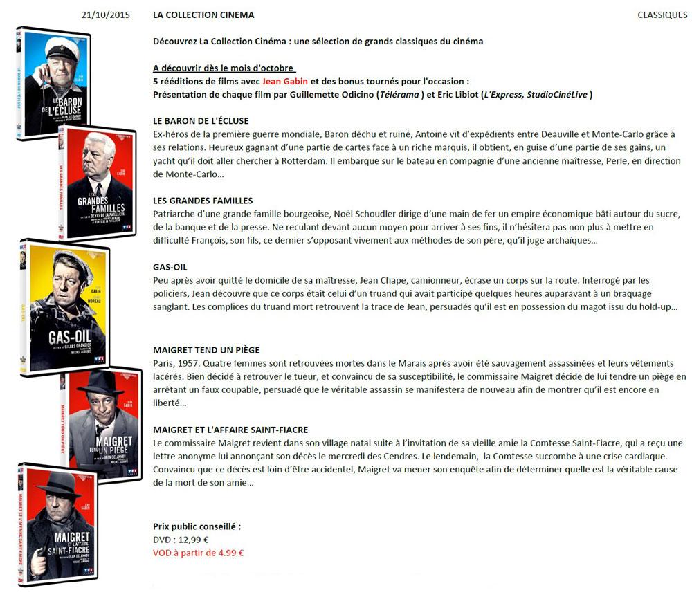 Classiques Gabin - TF1 DVD Oct 2015