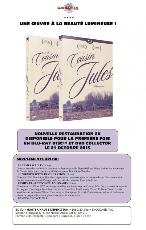 Le Cousin-jules - Annonce presse Blu-ray Carlotta