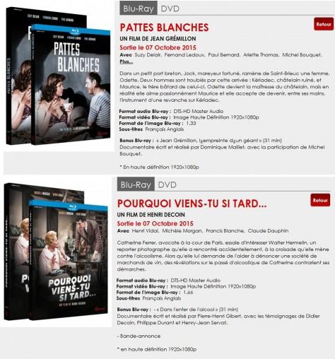 Gaumont Blu-ray Classiques - Octobre 2015