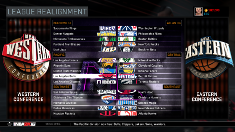 NBA 2K16 - League Realignment