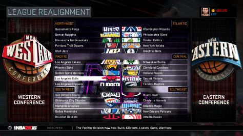 NBA 2K16 - League Realignment