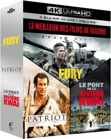 Coffret Le Meilleur des films de guerre : Fury + The Patriot - Le chemin de la liberté + Le Pont de la rivière Kwaï – Packshot Blu-ray 4K Ultra HD