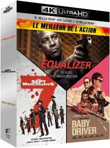 Coffret Le Meilleur de l'action : Equalizer + Les 7 mercenaires + Baby Driver – Packshot Blu-ray 4K Ultra HD