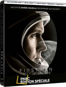First Man : Le premier homme sur la lune (2018) de Damien Chazelle - Steelbook Édition Spéciale Fnac – Packshot Blu-ray 4K Ultra HD