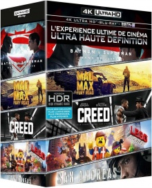 Batman v Superman + Mad Max : Fury Road + Creed + San Andreas + La Grande aventure Lego - Packshot Blu-ray 4K Ultra HD
