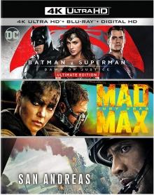 Batman v Superman : L'aube de la justice + Mad Max: Fury Road + San Andreas - Packshot Blu-ray 4K Ultra HD