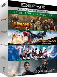 Coffret Le Meilleur de l'aventure : Jumanji : Bienvenue dans la jungle + Spider-Man : Homecoming + SOS Fantômes + La Tour sombre - Packshot Blu-ray 4K Ultra HD