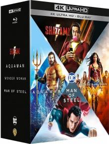 DCEU Origin Stories : Man of Steel + Wonder Woman + Aquaman + Shazam! - Packshot Blu-ray 4K Ultra HD