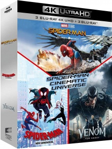 Spider-Man - Cinematic Universe : Spider-Man Homecoming + Spider-Man New Generation + Venom - Packshot Blu-ray 4K Ultra HD