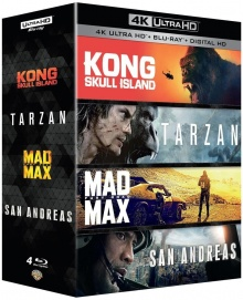 Kong : Skull Island + Tarzan + Mad Max : Fury Road + San Andreas – Packshot Blu-ray 4K Ultra HD