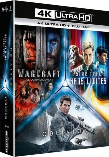 Science Fiction 4K - Coffret : Star Trek Sans limites + Warcraft : le commencement + Oblivion – Packshot Blu-ray 4K Ultra HD