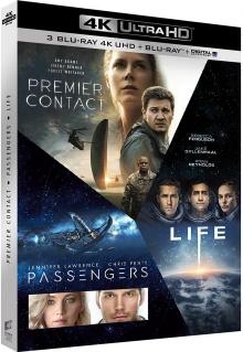 Coffret Premier contact + Passengers + Life - Origine inconnue – Packshot Blu-ray 4K Ultra HD