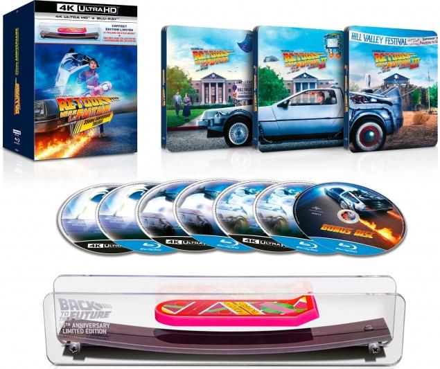 Retour vers le futur : Trilogie – Coffret Ultra collector Hoverboard numéroté – Steelbook – Packshot Blu-ray 4K Ultra HD (Ouvert)